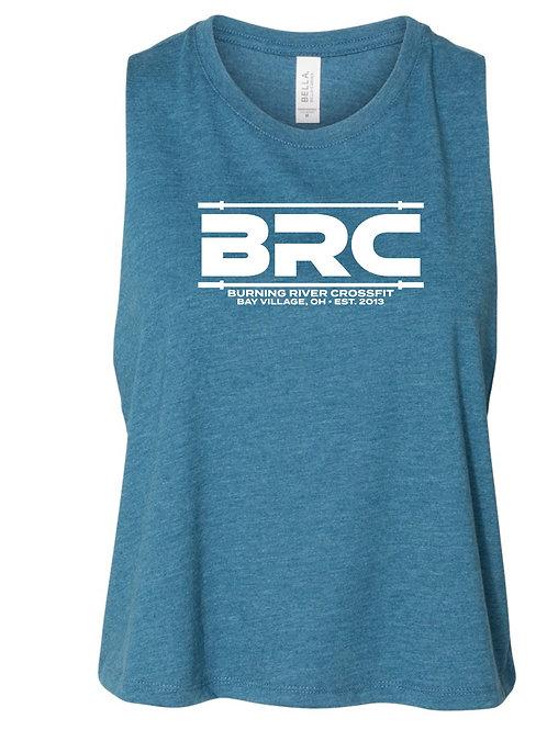 BRC Racerback Cropped Tank  Teal Barbell