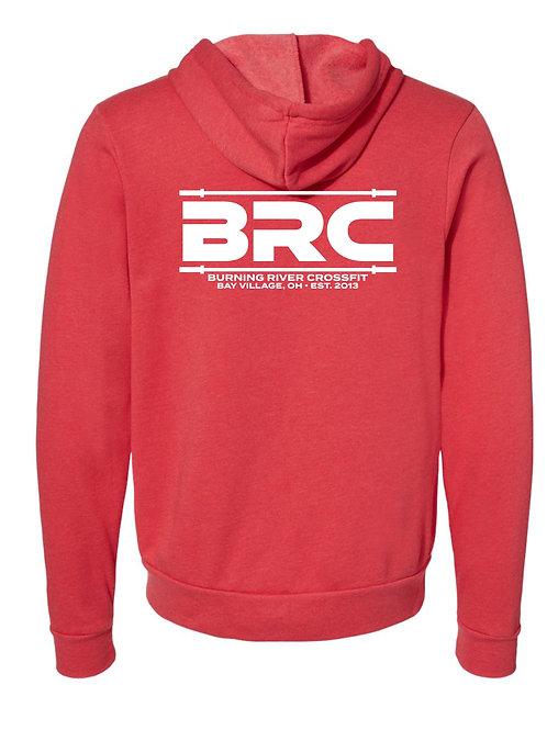 BRC Unisex Zip Up Hoodie Red Barbell on Back