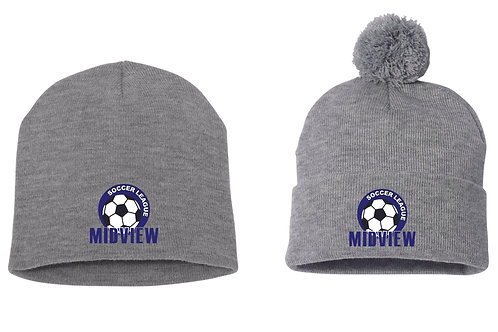MSL Gray Embroidered Beanie Hat