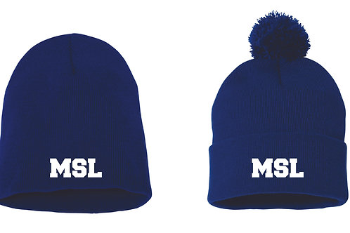 MSL Blue Embroidered Beanie Hat
