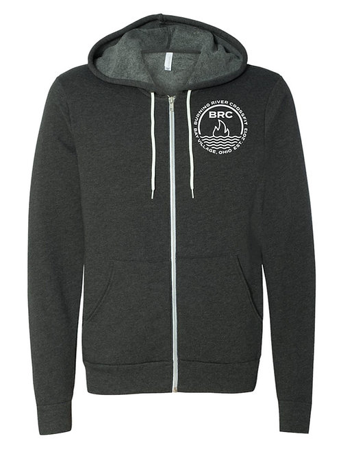 BRC Unisex Zip Up Hoodie Dark Gray Circle