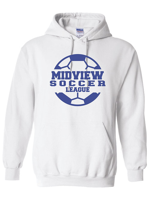 MSL White Hoodie With Blue Shimmer Ink
