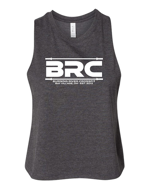 BRC Racerback Cropped Tank  Gray Barbell