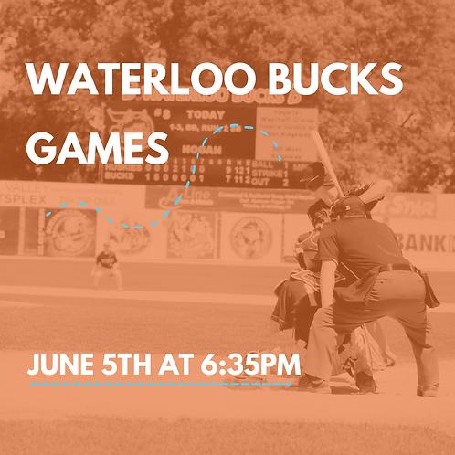 June 5th Waterloo Bucks Ticket