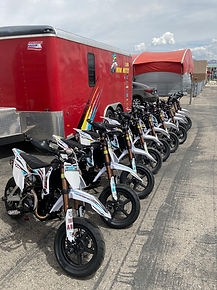 mini motorcycles in a row