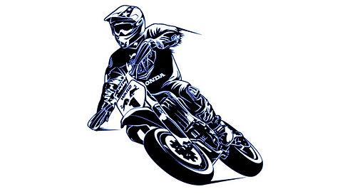 cartoon man riding mini motorcycle