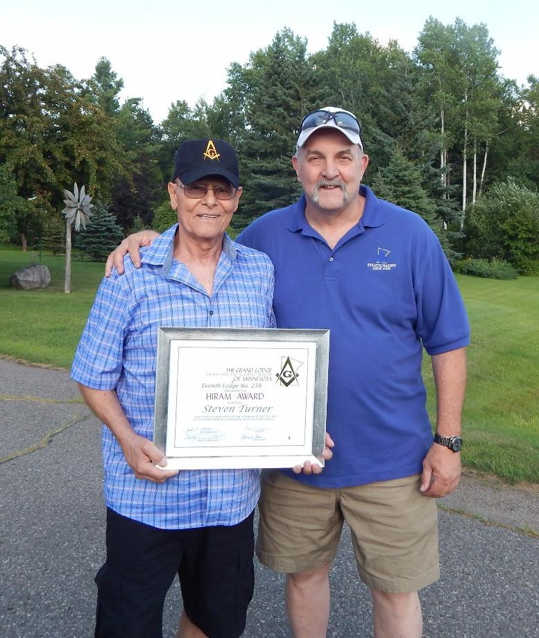 Hiram Award, Steve Turner, Eveleth Masonic Lodge