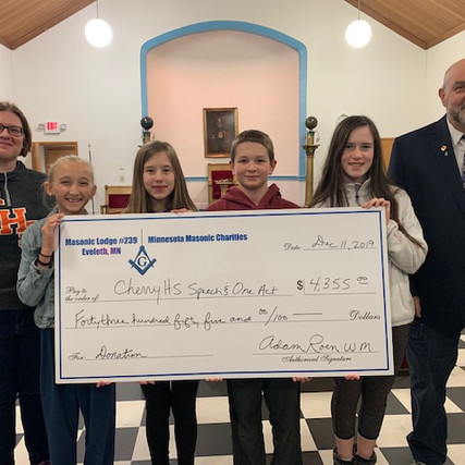 Donation Presented to Cherry High School Speech and One Act