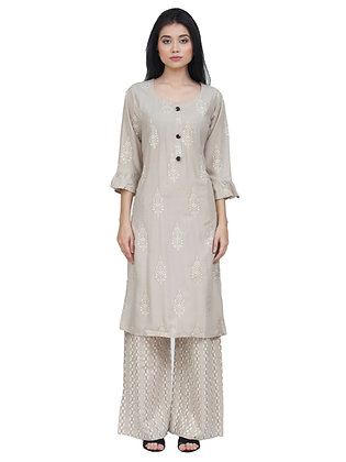 Women's Rayon Grey Gold Printed Kurta with Palazzo Bottom Set