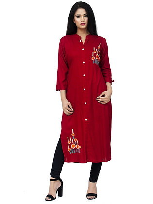 Maroon Rayon Kurta with Embroidery