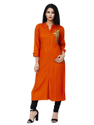 Rust Colour Rayon Kurta with Embroidery