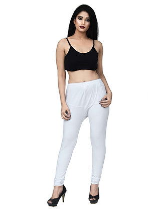 Women's White Churidaar Leggings Cotton Lycra 4 way Stretchable