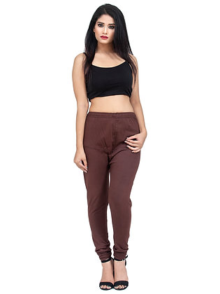 Women's Brown Churidaar Leggings Cotton Lycra 4 way Stretchable