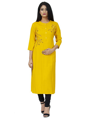 Yellow Rayon Kurta with Embroidery