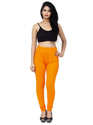 Women's Orange Churidaar Leggings Cotton Lycra 4 way Stretchable