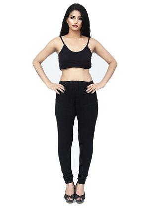 Women's Black Churidaar Leggings Cotton Lycra 4 way Stretchable