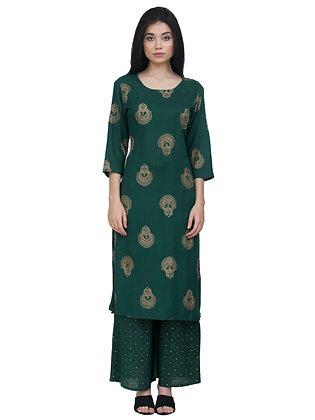 Women's Rayon Green Gold Embroidery Kurta with Palazzo Bottom Set