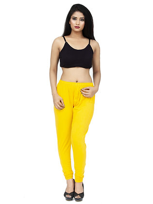 Women's Yellow Churidaar Leggings Cotton Lycra 4 way Stretchable