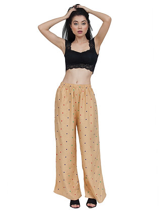 Women's Embroidery Beige Rayon Palazzo Pant