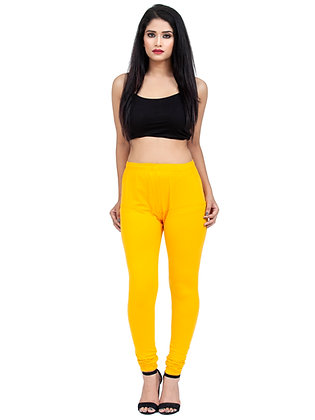 Women's Dark Yellow Churidaar Leggings Cotton Lycra 4 way Stretchable