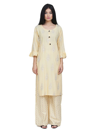 Women's Rayon Yellow Gold Printed Kurta with Palazzo Bottom Set