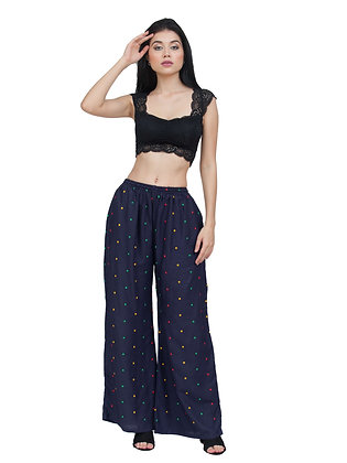 Women's Embroidery Navy Blue Rayon Palazzo Pant