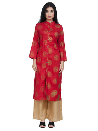 Women's Rayon Red Gold Printed Kurta with Palazzo Bottom Set