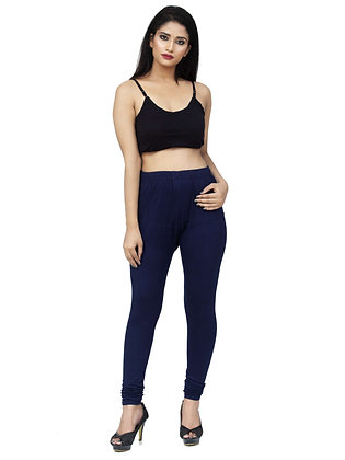 Women's Navy Blue Churidaar Leggings Cotton Lycra 4 way Stretchable