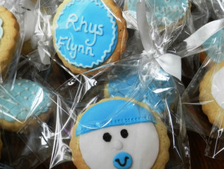 Personalised biscuits; new baby present for mums and dads