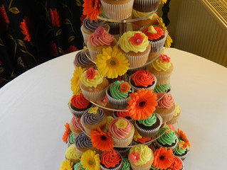 Bright Wedding Cupcakes at Crouchers, Chichester