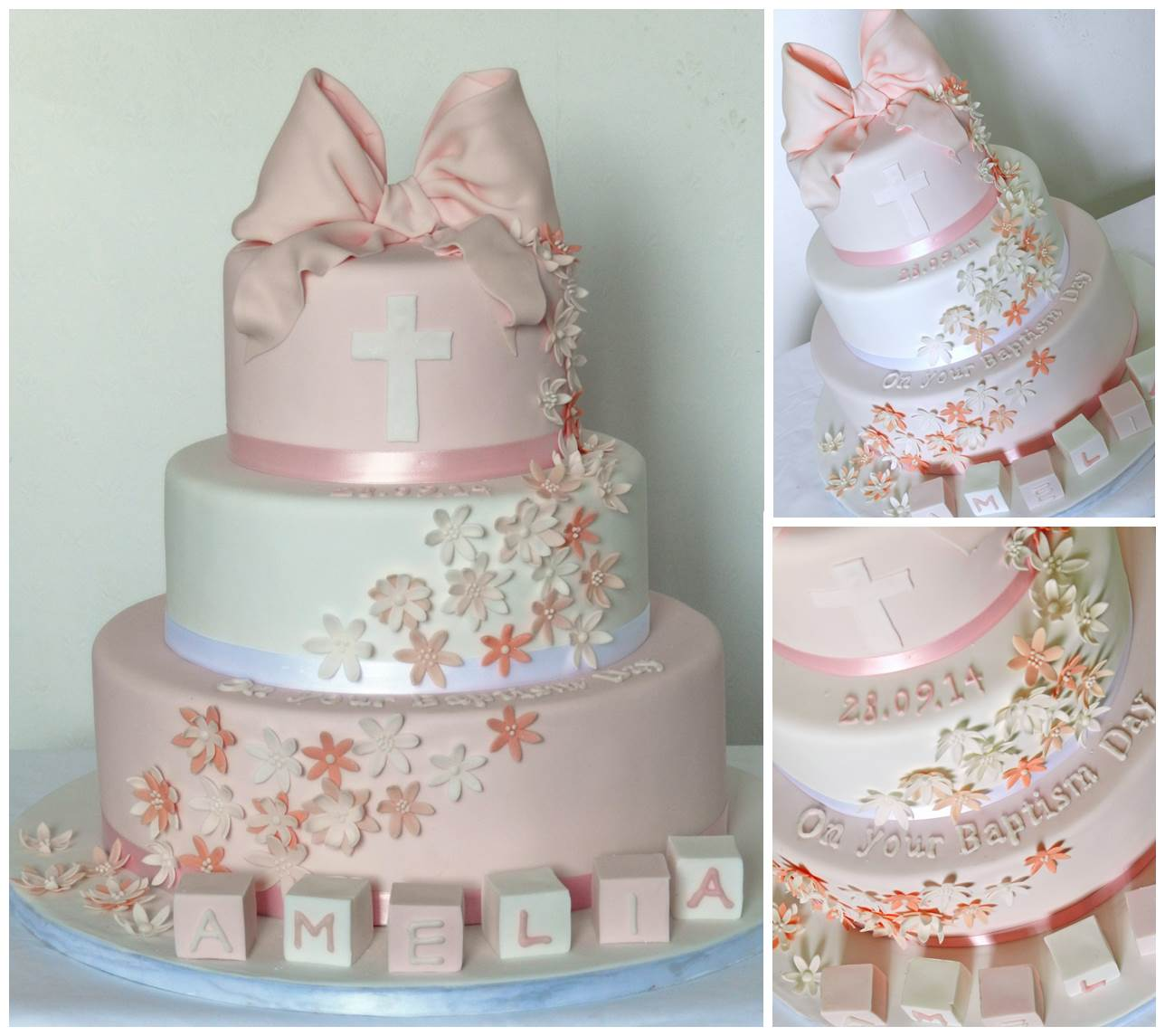 Girl S Christening Cake With Big Pink Bow Fishbourne