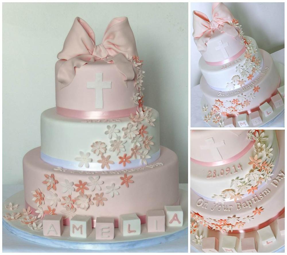 Girls Christening Cake Bow cascading flowers