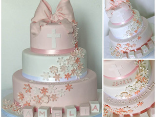 Girl's Christening Cake with big pink bow, Fishbourne