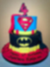 Spiderman and Batman Birthday Cake. Boys 4th birthday cake. Chichester West Sussex