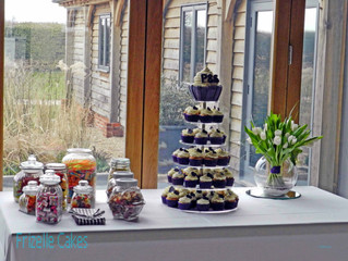 Wedding Cupcake Tower with Giant Cupcake at Southend Barns in Chichester, West Sussex