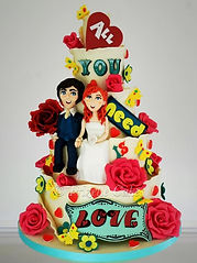 Chocolate covered wedding cake, All you need is love, custom cake toppers west sussex