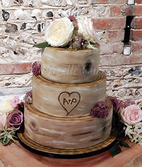 Rustic wedding cake, tree stumps, upwaltham barn, chichester west sussex