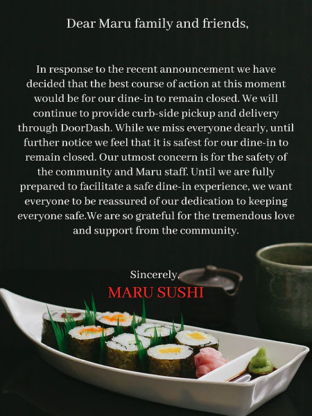 Dear Maru families and friends. Due to s