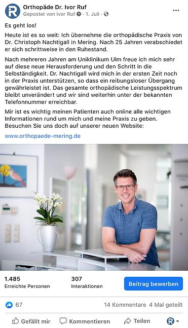 Facebook Beitrag Dr Ruf - Agentur Donau