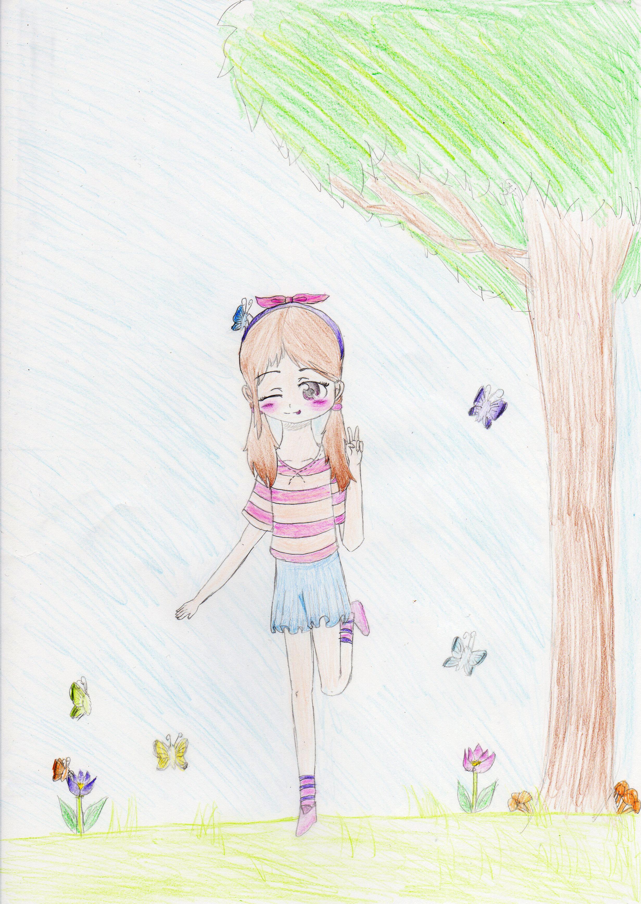 木下にいる女の子