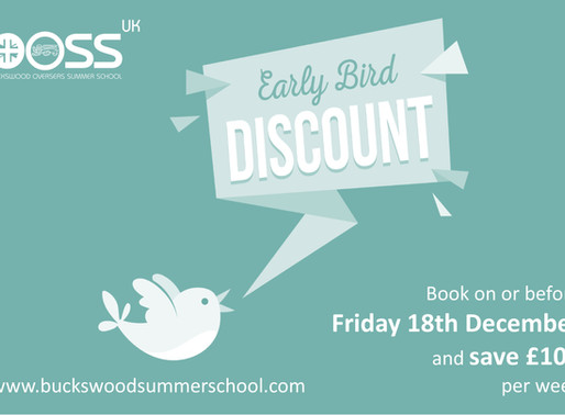Early Bird Discount - Save £100 Per Week
