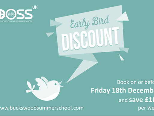 Early Bird Discount - Save £100 Per Week