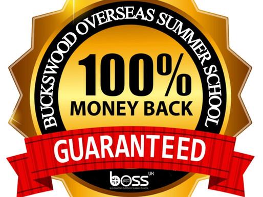 100% Money Back Guarantee with Buckswood Overseas Summer School