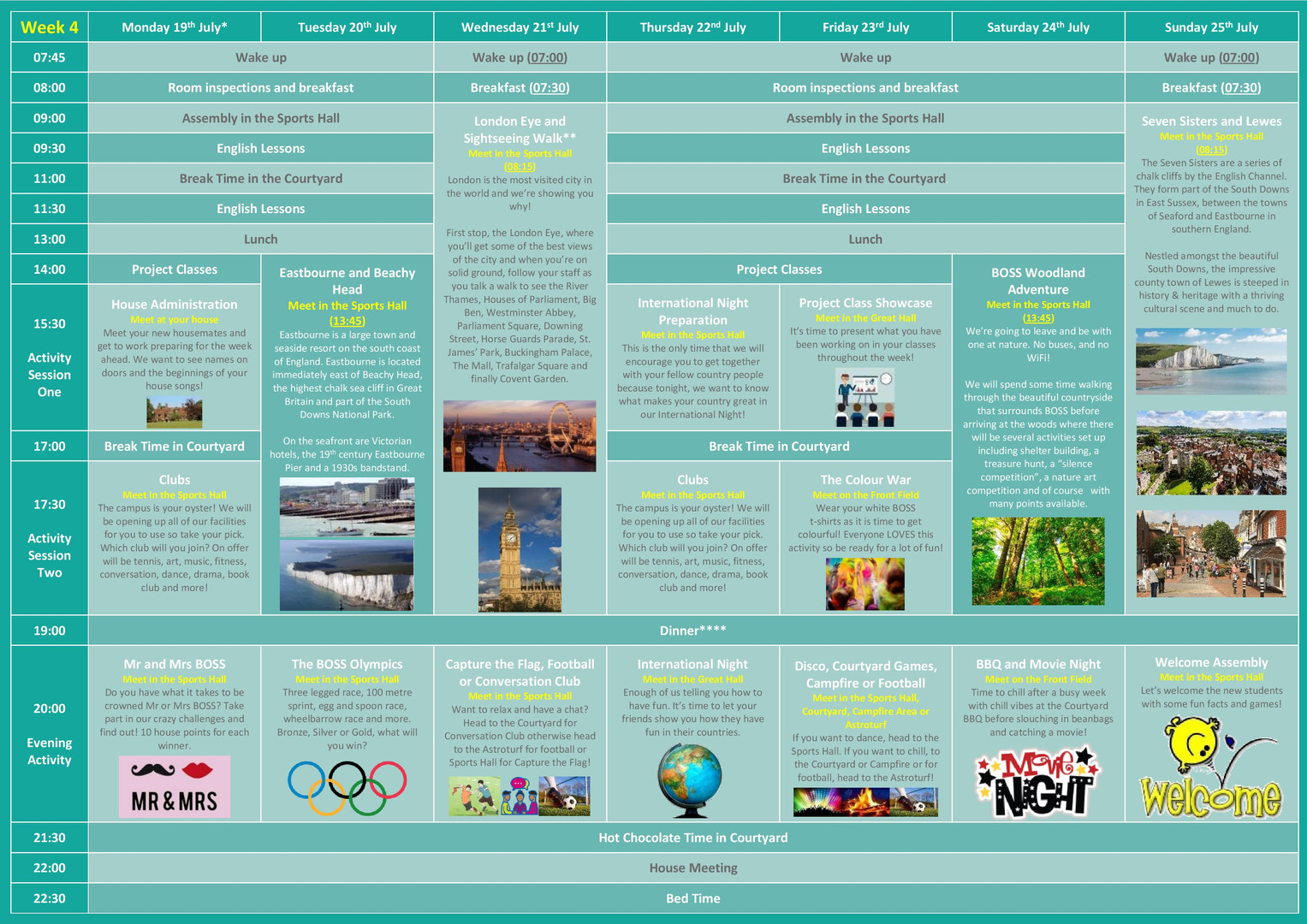 Summer School 2021 Activity and Excursio