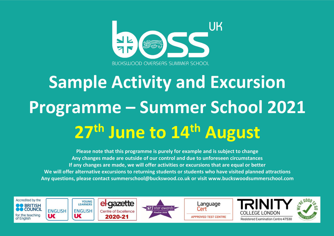 Summer School 2021 Activity and Excursio