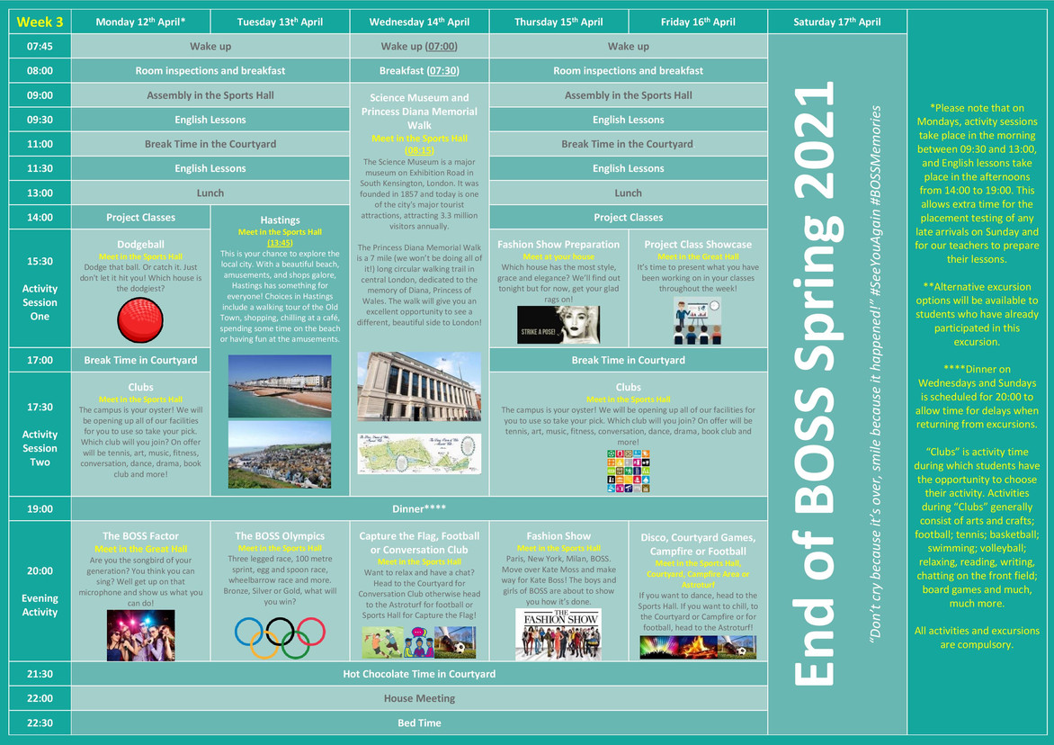 Spring Course 2021 Activity and Excursio