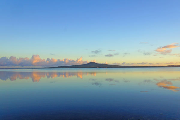 Rangitoto and reflections at sunrise