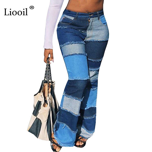 Liooil Color Block High Waist Flare Jeans With Pockets Streetwear Sexy