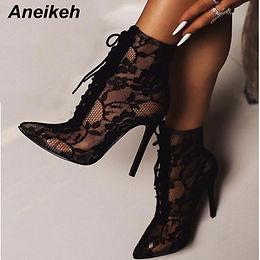 Aneikeh Black Mesh Women's Boots