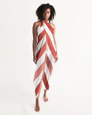 Swimsuit Coverup Womens Sheer Swimwear Herringbone Print Red and White